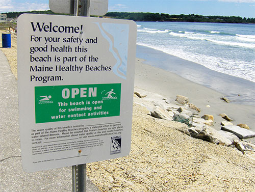 Maine Healthy Beaches sign post. Photo by Joe Shlabotnik.