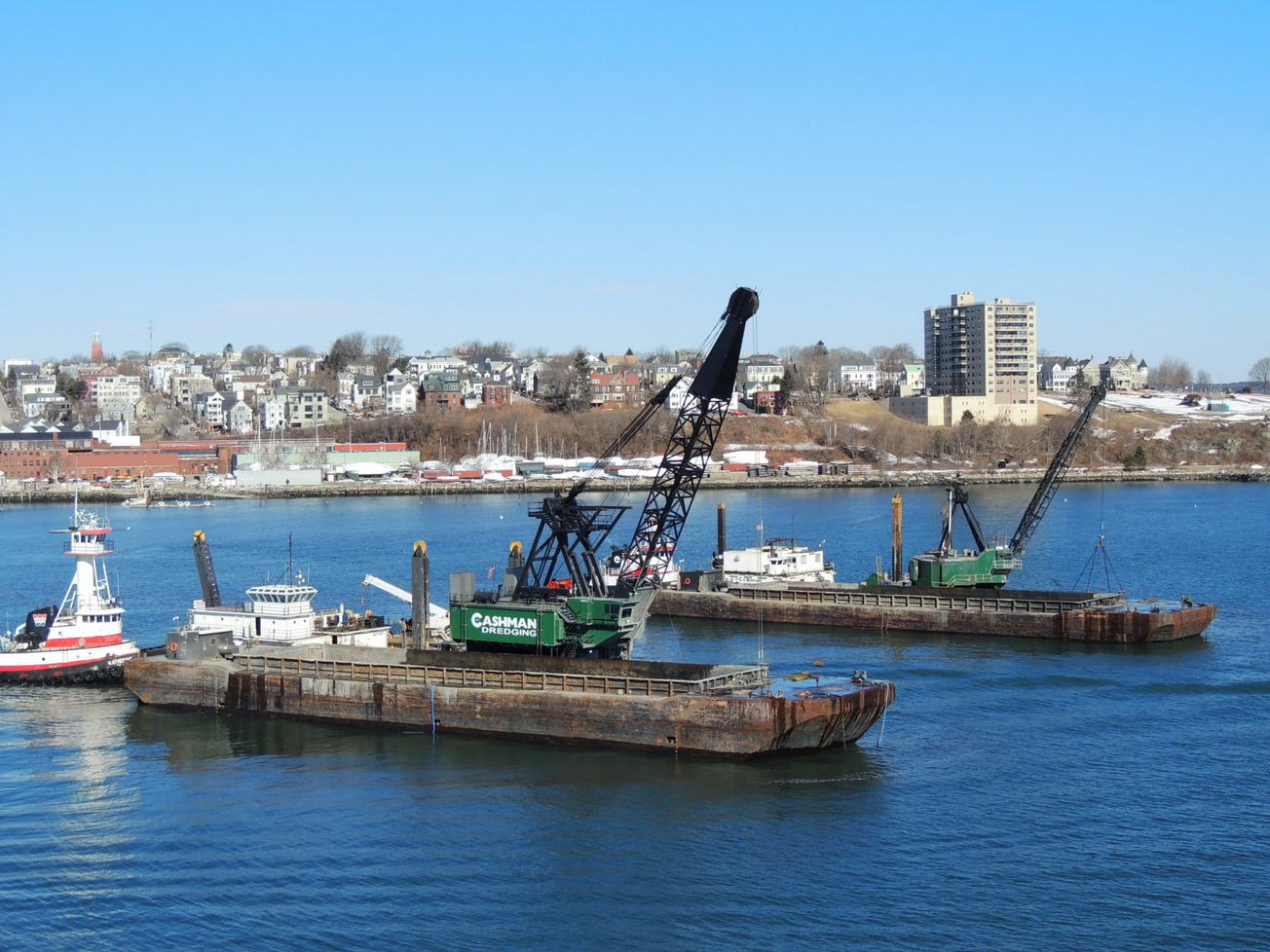 Dredging in Portland harbor, 2004. [Photo from www.dredgingcontractors.org]